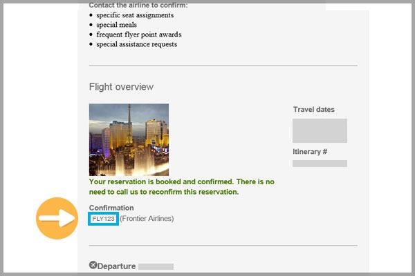 Travelocity confirmation email example