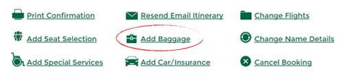 booking confirmation screenshot of add baggage link