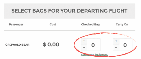 booking add bags screenshot