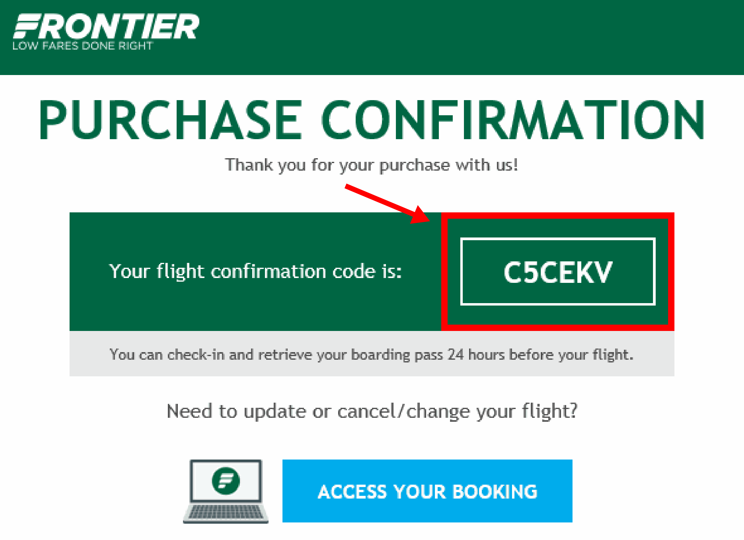 Ejemplo del email de confirmación de Frontier