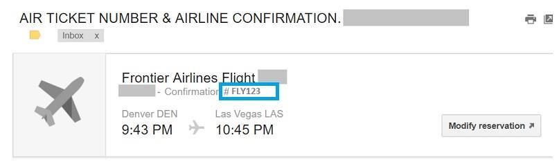 Confirmation Code | Frontier Airlines